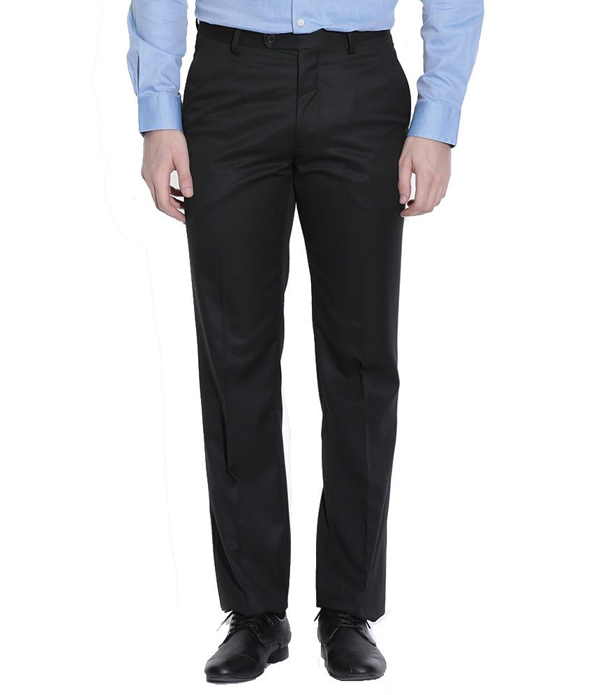 Librazo By Mafatlal Black Regular Fit Formal Flat Trousers