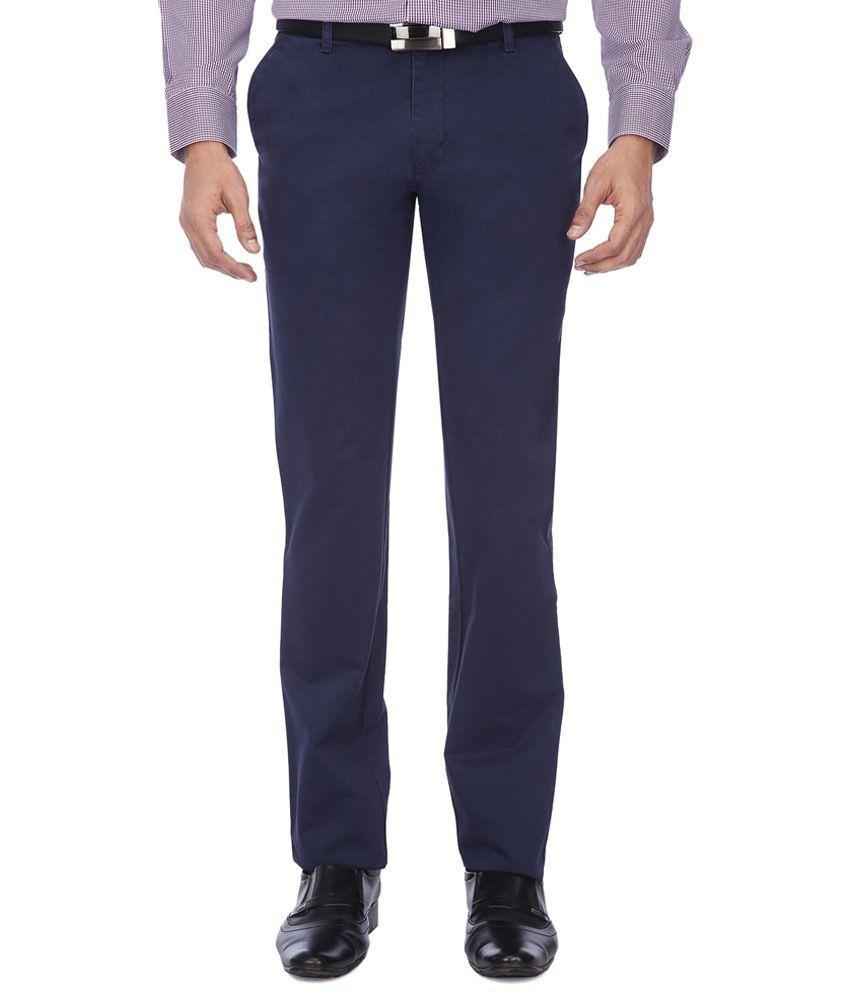 Librazo By Mafatlal Blue Slim Fit Formal Flat Trousers