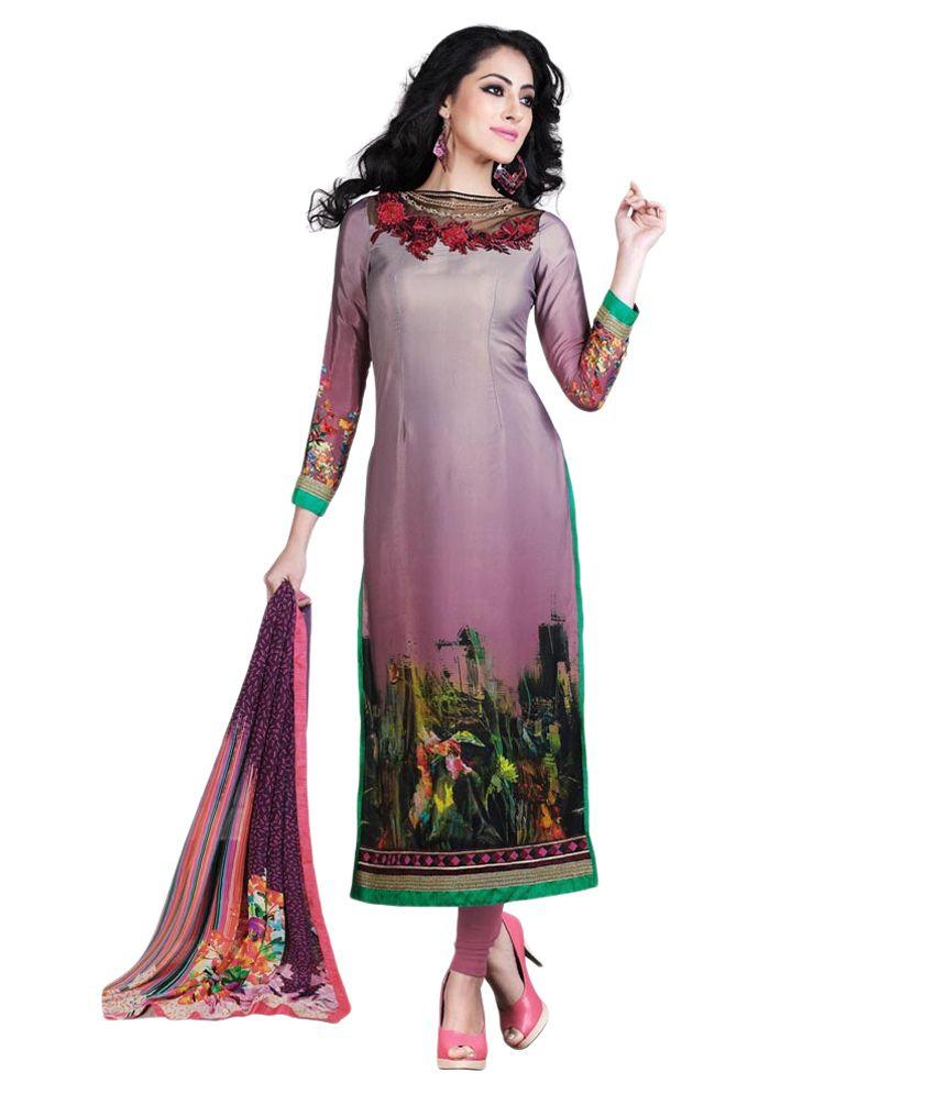 Lookslady Multicoloured Crepe Pakistani Suits Unstitched Dress Material