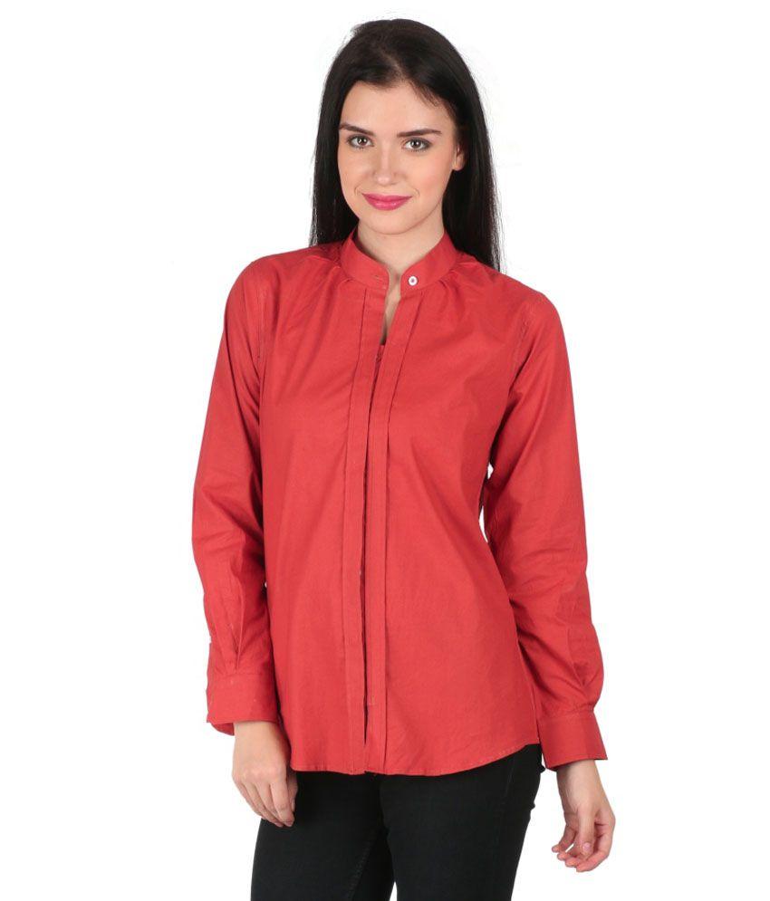 Mahikrite Red Cotton Shirts