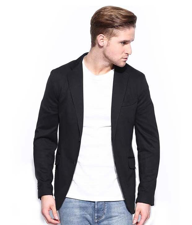 Menjestic Black Cotton Blend Blazer