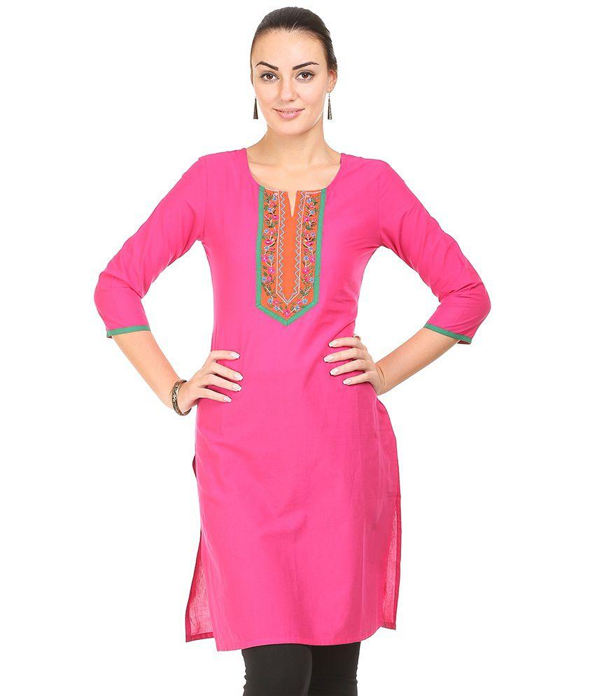 Amari Pink & Orange Cotton Kurti