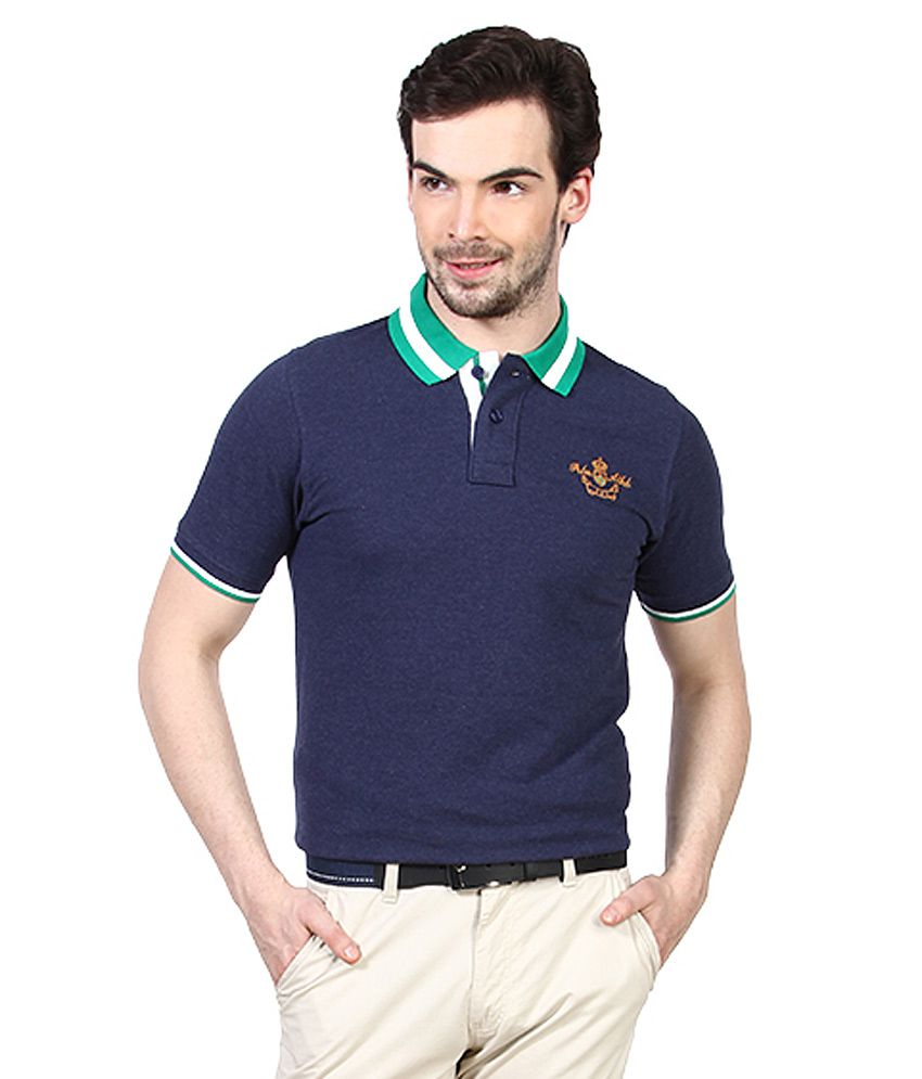 Proline Navy Blue Solid Polo T Shirt