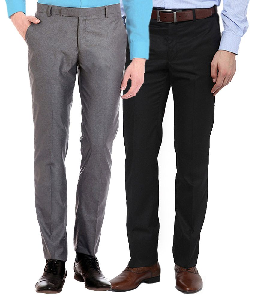 Ad & Av Grey And Black Regular Fit Formal Flat Trousers - Pack Of 2