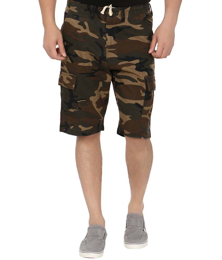 Blimey Camouflage Green Cotton Shorts