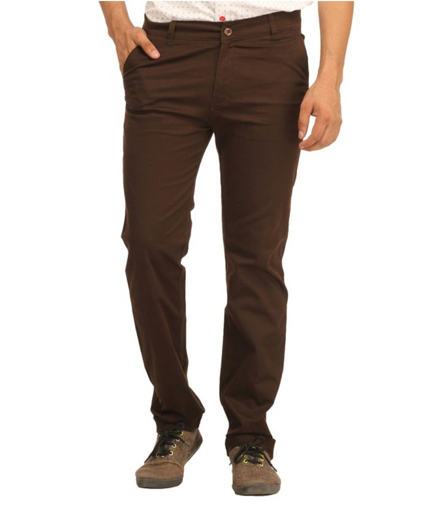 Cb Fashion Brown Slim Fit Casuals Chinos