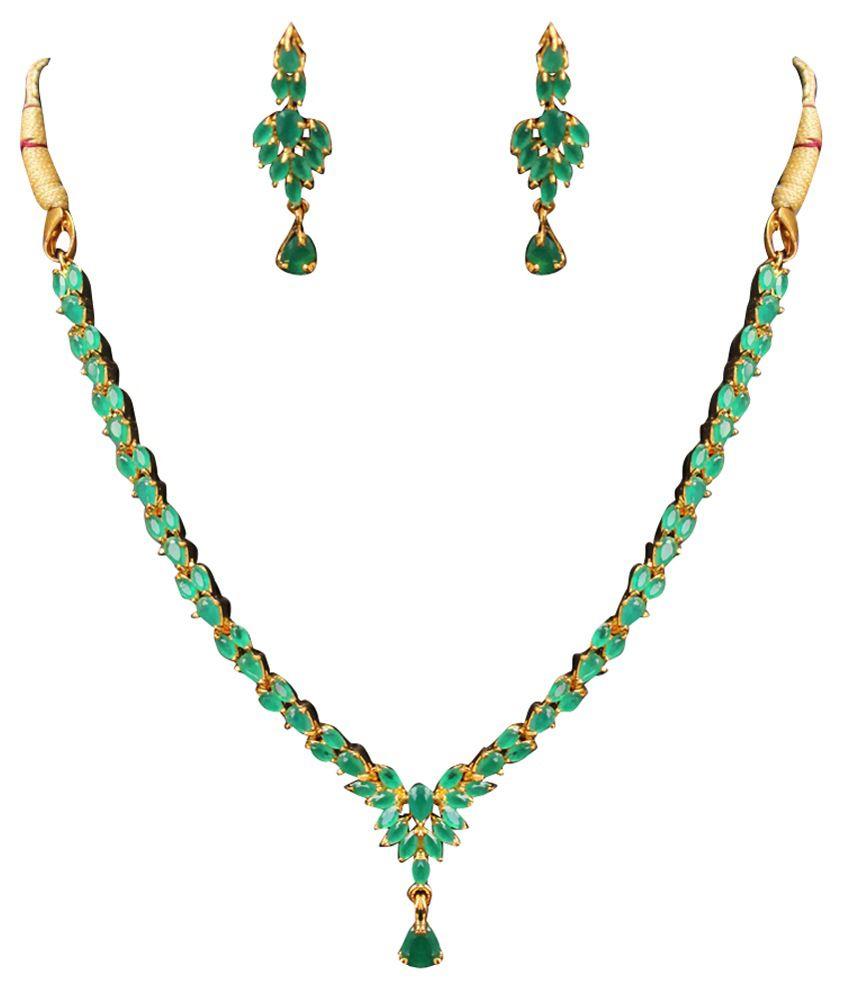 Jewelaway Green Necklace Set