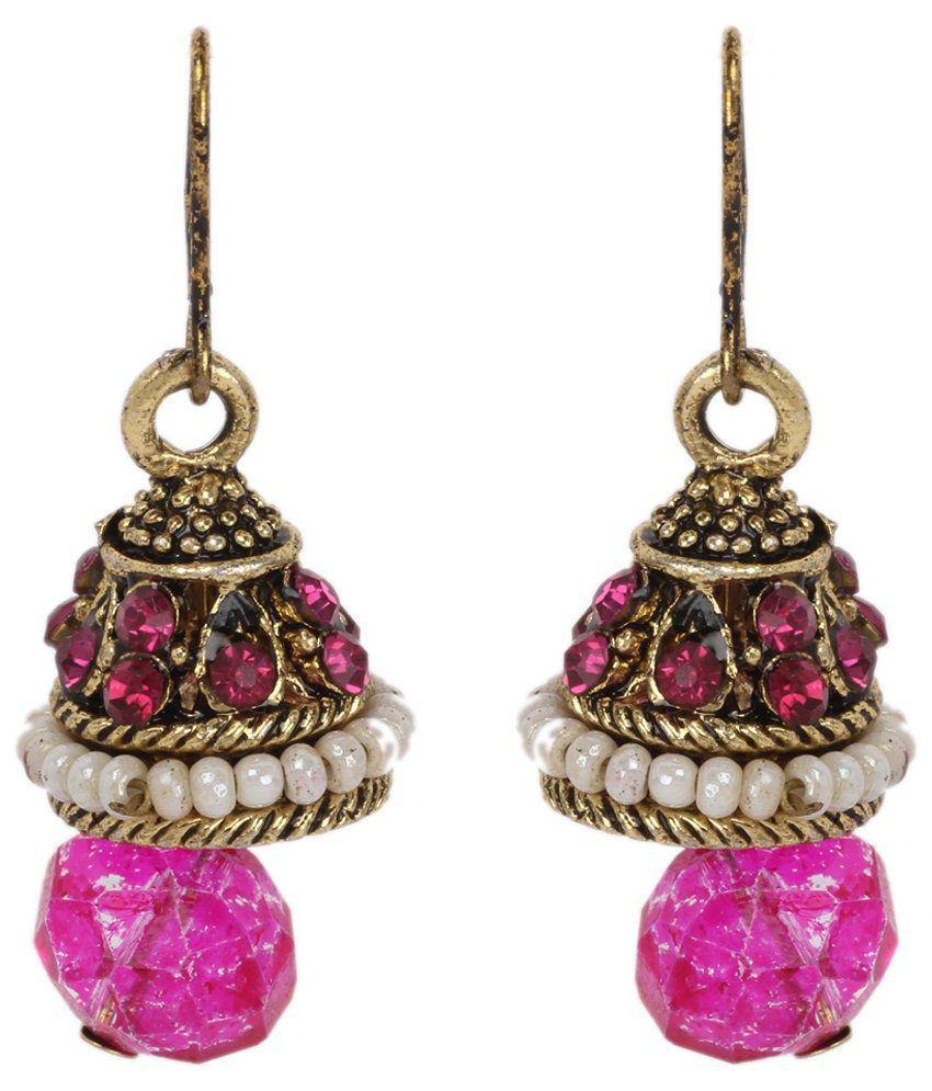 Maisha D'ziner Jewellery Pink Alloy Jhumki
