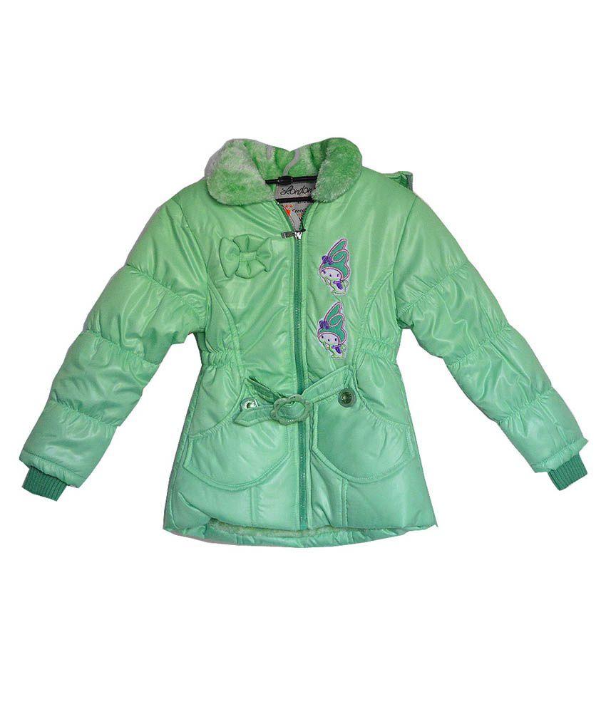 London Girl Light Green Hooded Jacket For Girls