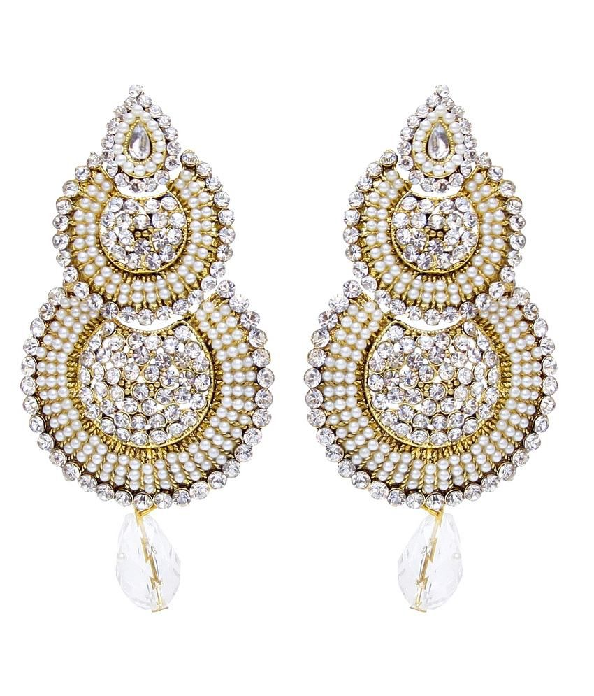 Lucky Jewellery White Alloy Hanging Earrings