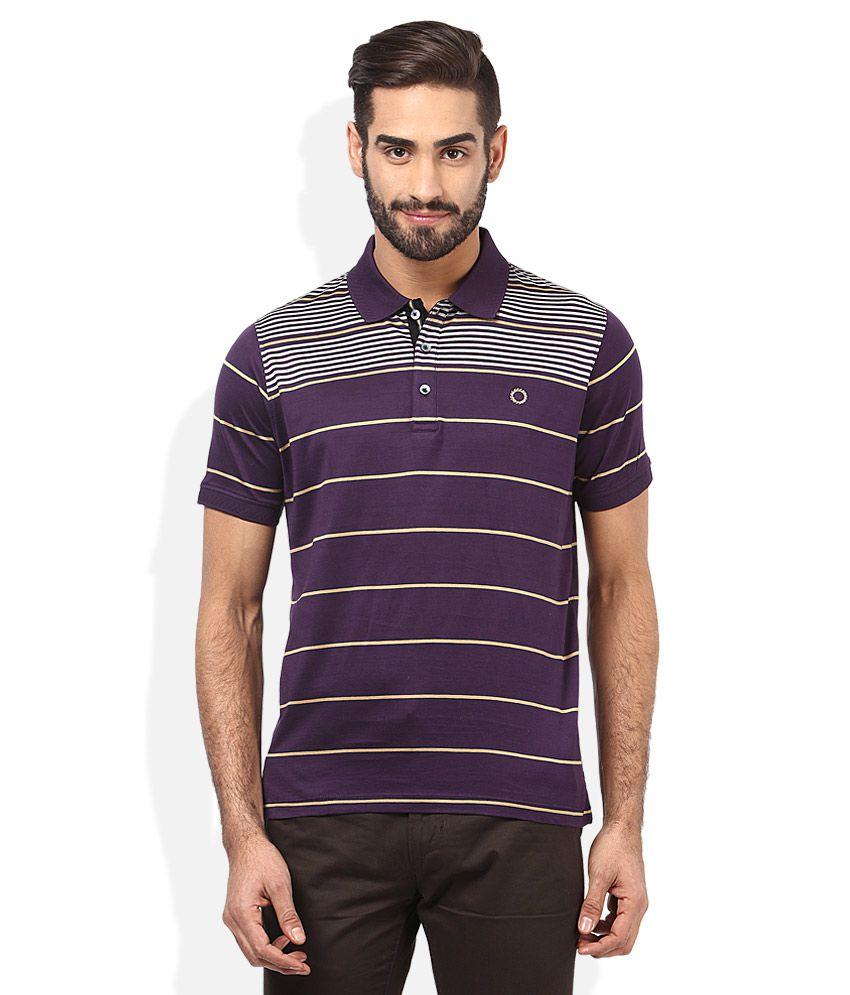 Proline Purple Striped Polo T Shirt