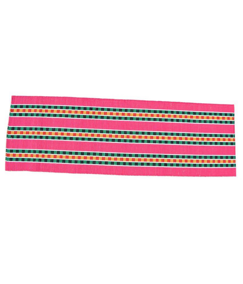 Younique Pink Ethnic Cotton Floor Mat