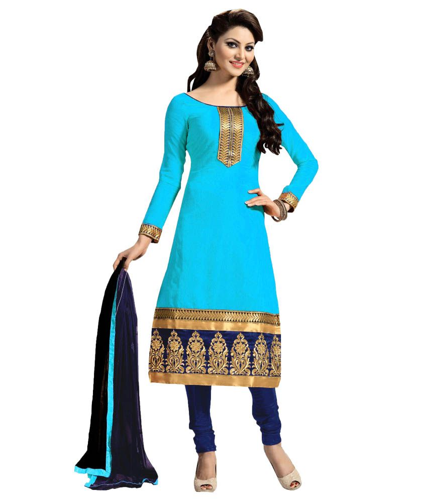 8d894736566 Blissta Blue Chanderi Dress Material - Buy Blissta Blue Chanderi Dress  Material Online at Best Prices in India on Snapdeal