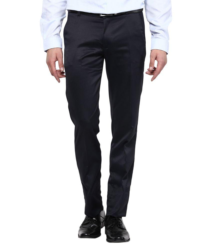 Bukkl Slim Fit Blue Formal Trousers