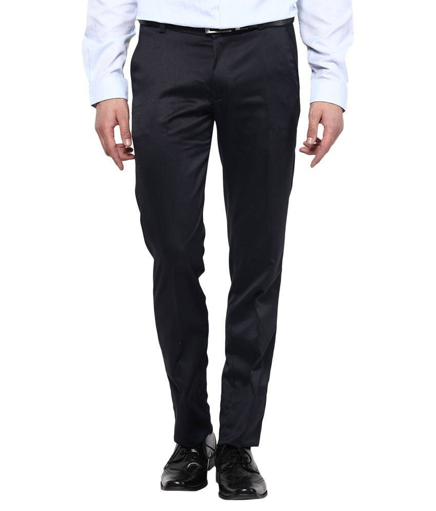 Bukkl Slim Fit Blue Formal Trousers
