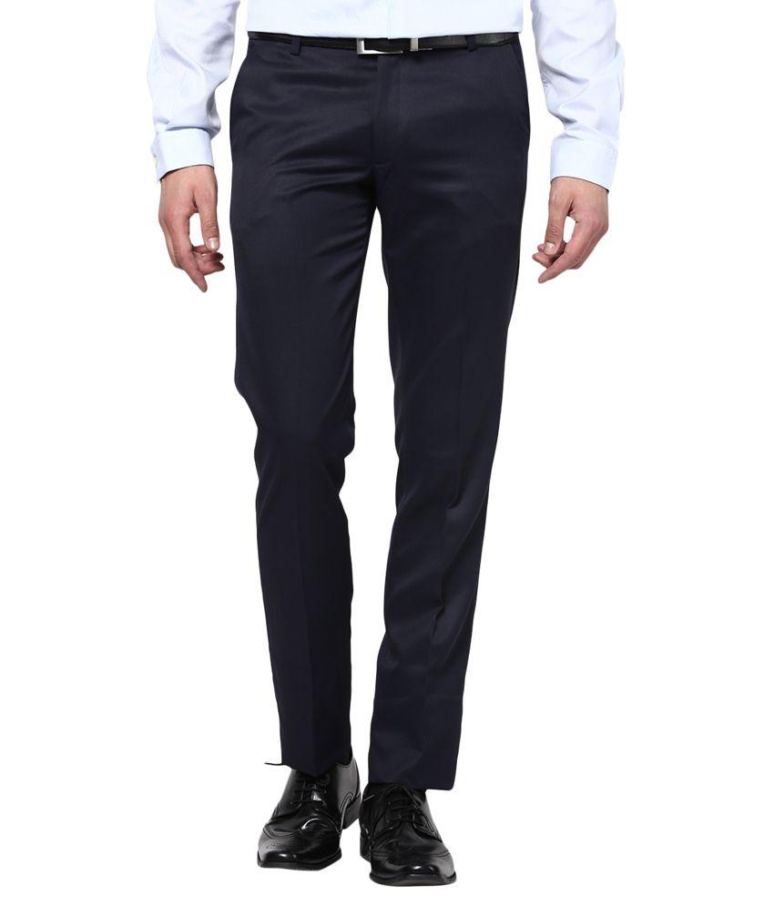 Bukkl Slim Fit Navy Blue Formal Trousers