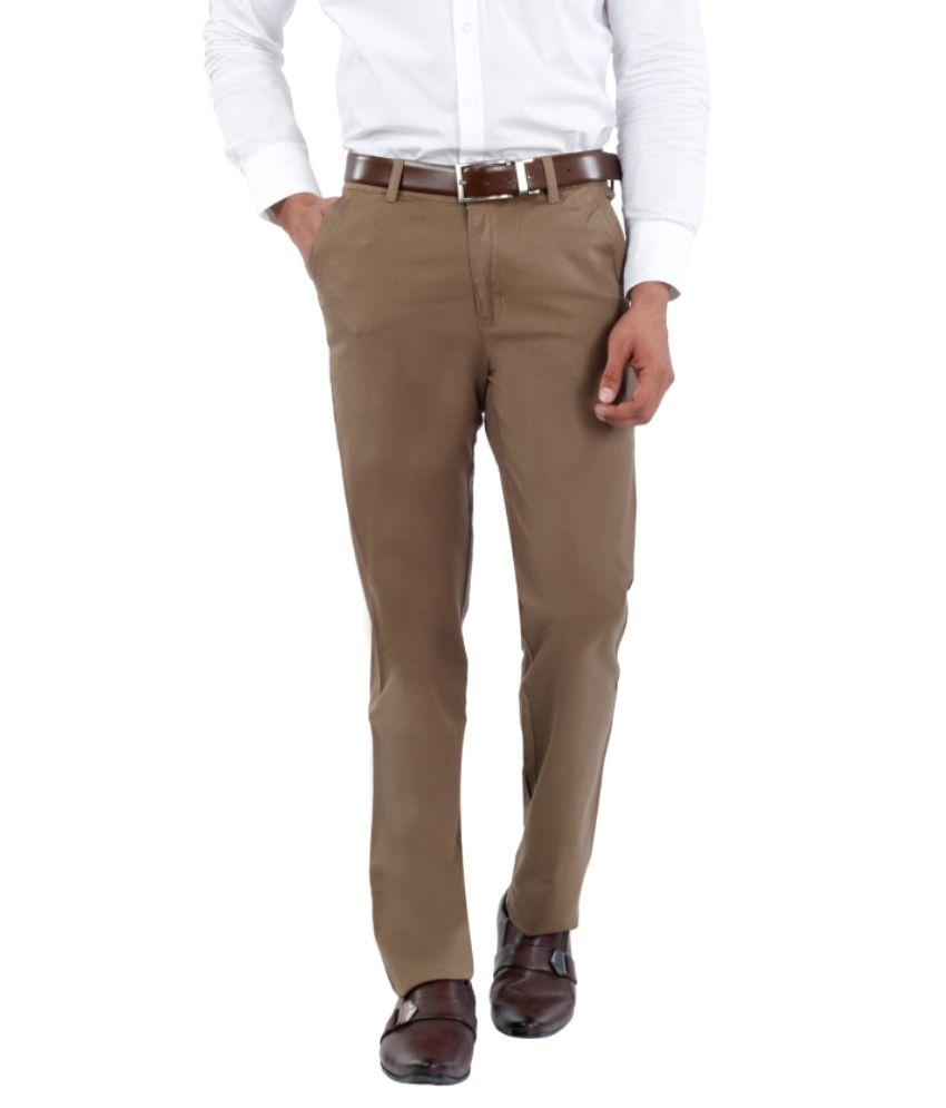 Canoe Brown Slim Fit Formal Trousers