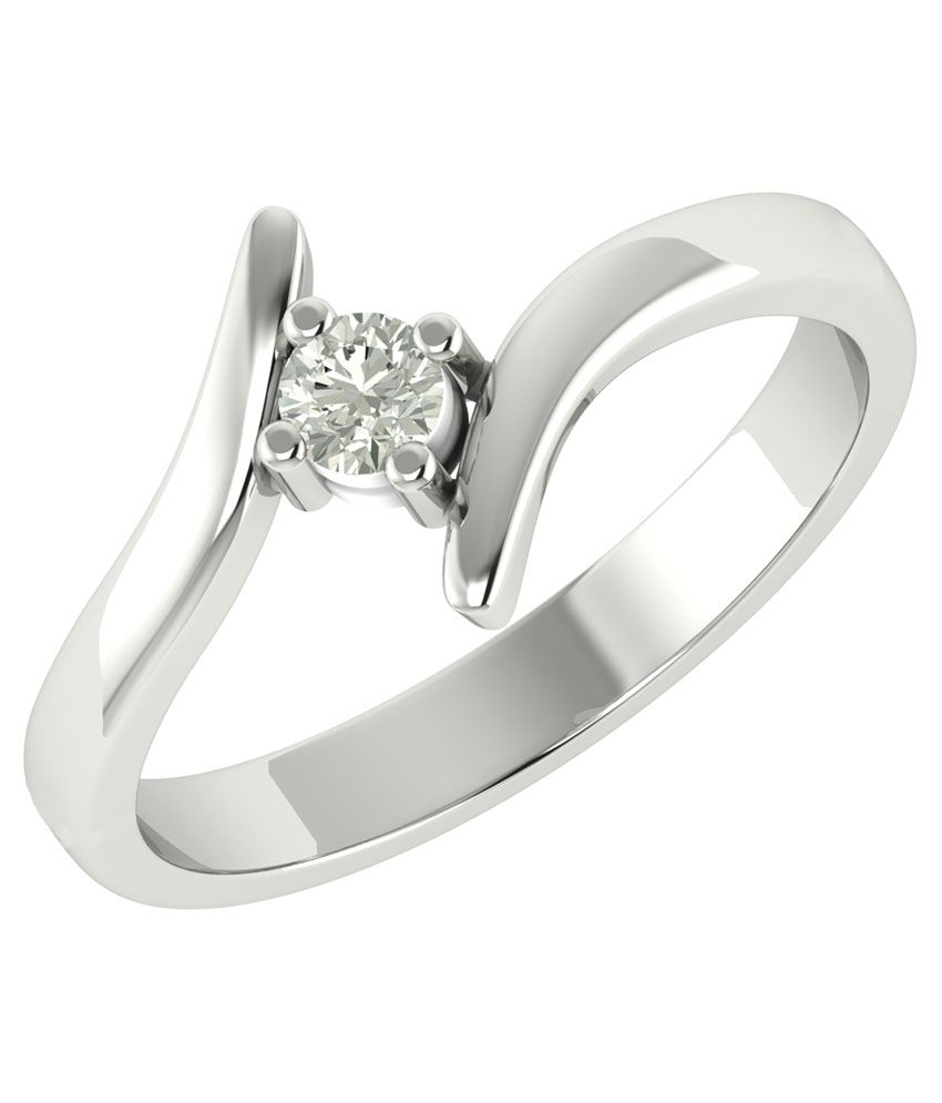 Charu Jewels 18kt White Gold Natural Diamond Ring