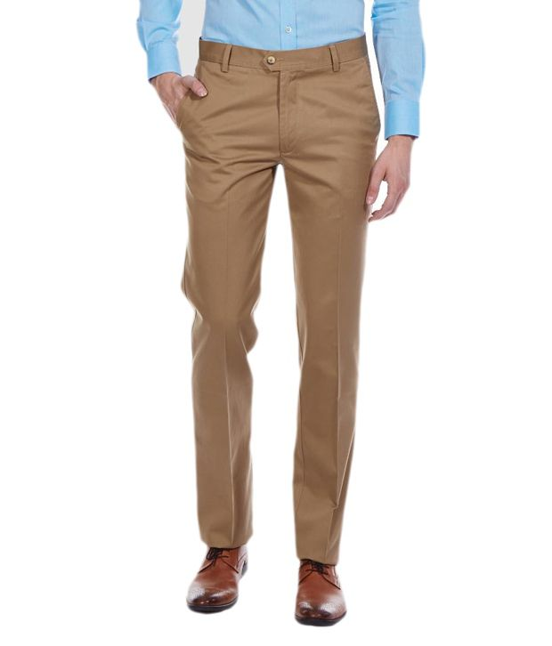 Librazo By Mafatlal Brown Slim Fit Casual Flat Trouser