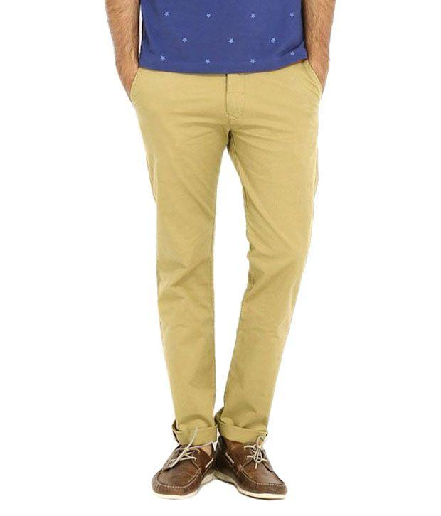 Librazo By Mafatlal Yellow Slim Fit Casual Flat Trouser