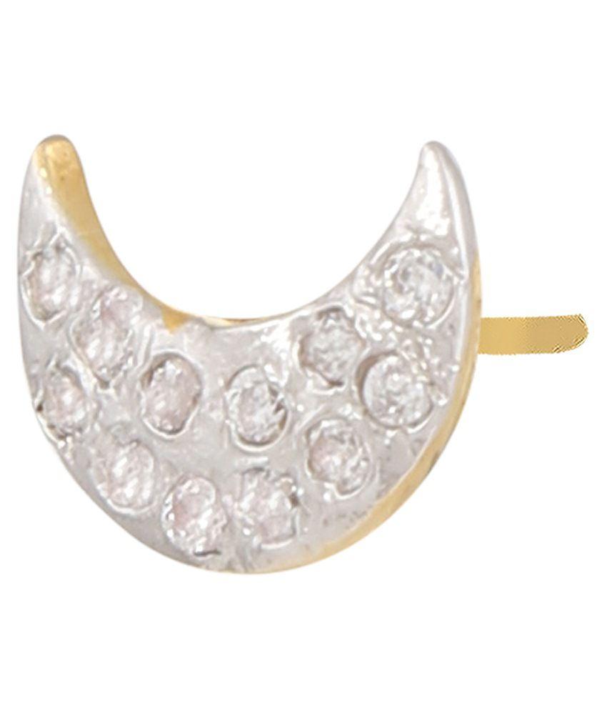Parijaat White & Golden Alloy Stud Earrings