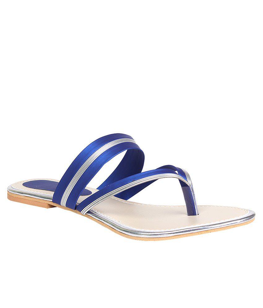 Trendy Footwear Blue Flat Slip Ons