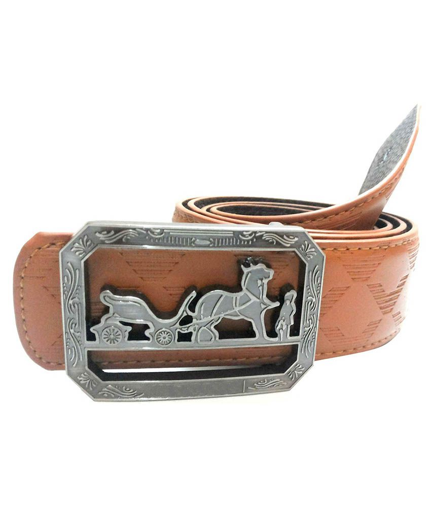 Mode Leather Casual Brown Color Autolock Buckle Belt For Men