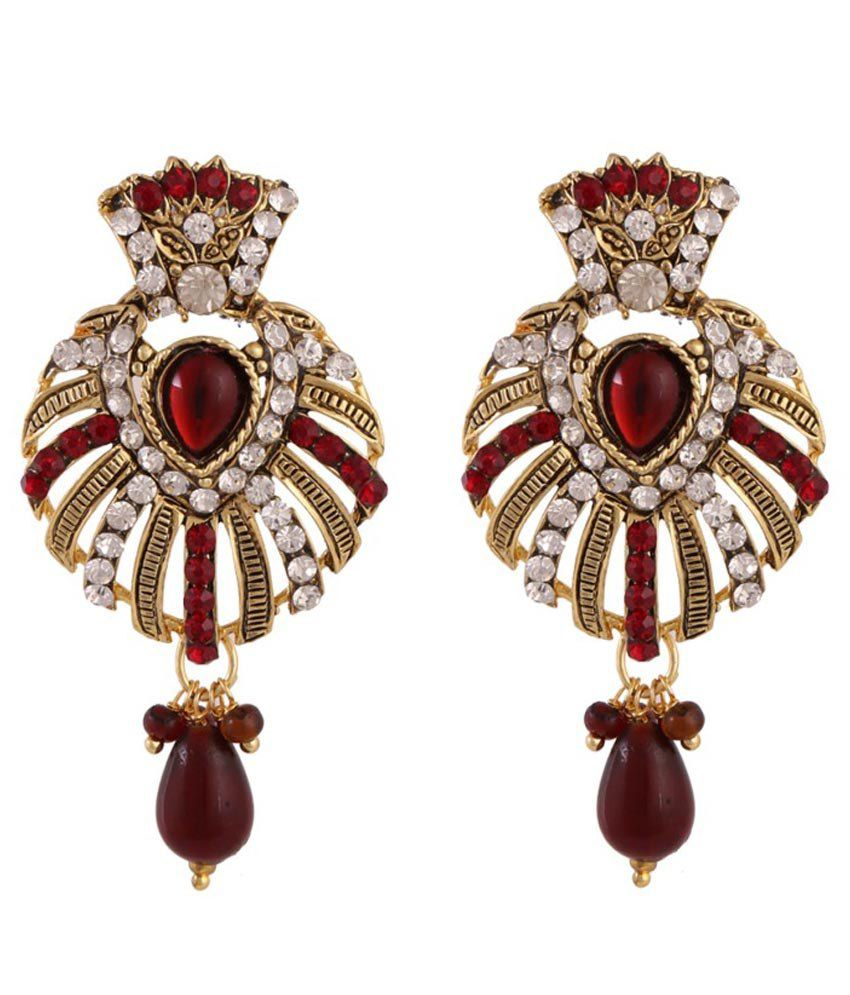 Ritus Collection Red Alloy Drop Earrings