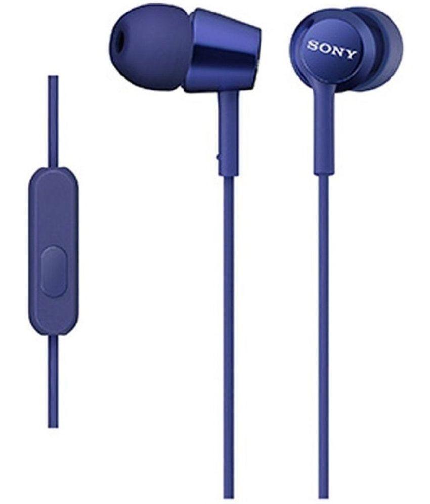 Sony Sony MDR EX150AP Blue In Ear Wired Earphones With Mic Blue