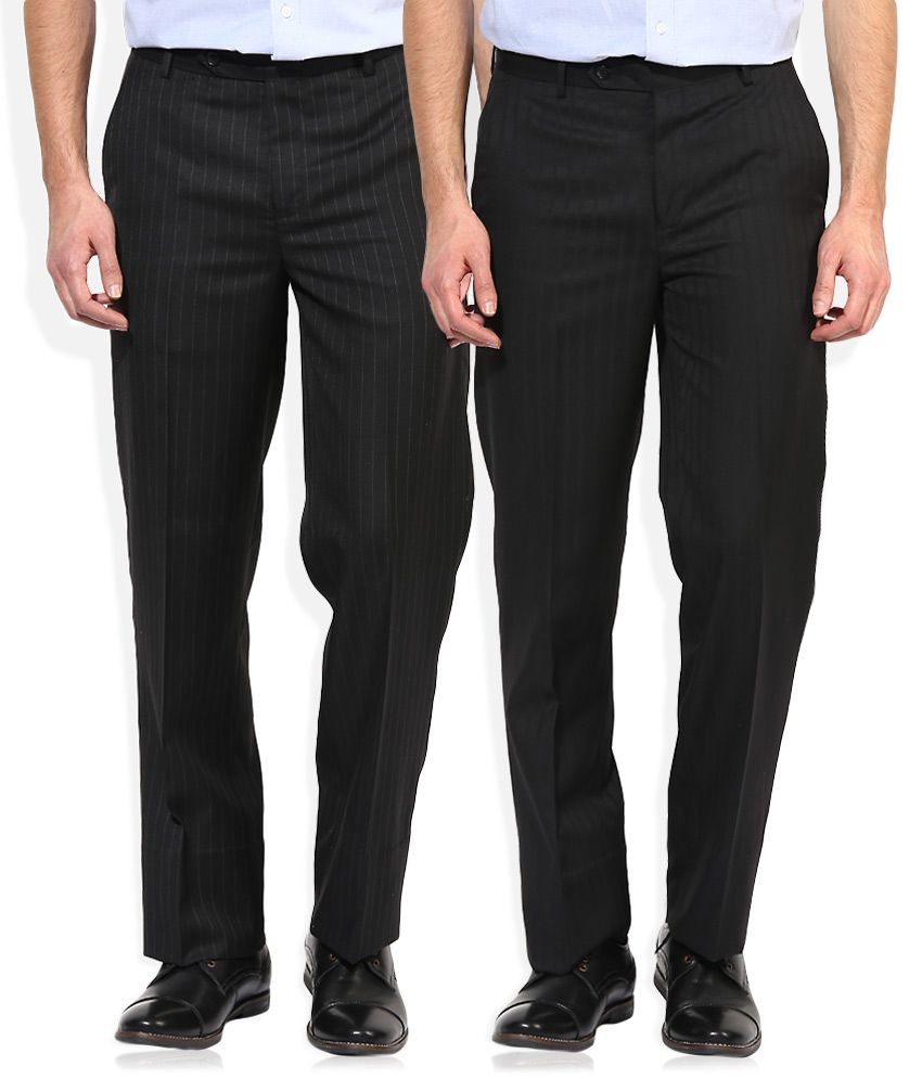 Wills Lifestyle Black Regular Fit Pack of 2 Trouser