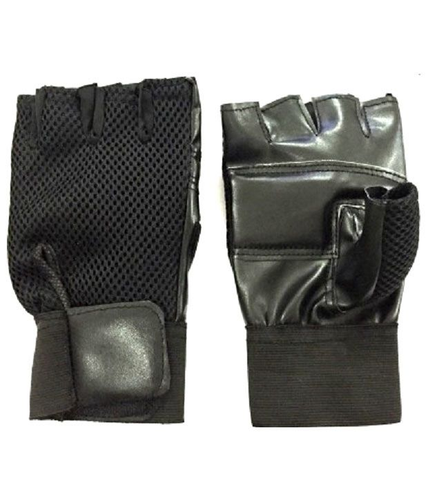 Vegan Gym Gloves: Real Choice Black Leather Gym Gloves With Wrist Support