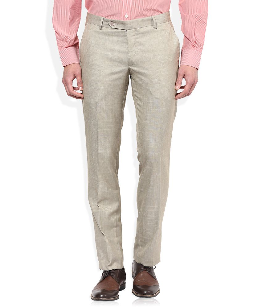 John Players Beige Solid Flat Front Trousers