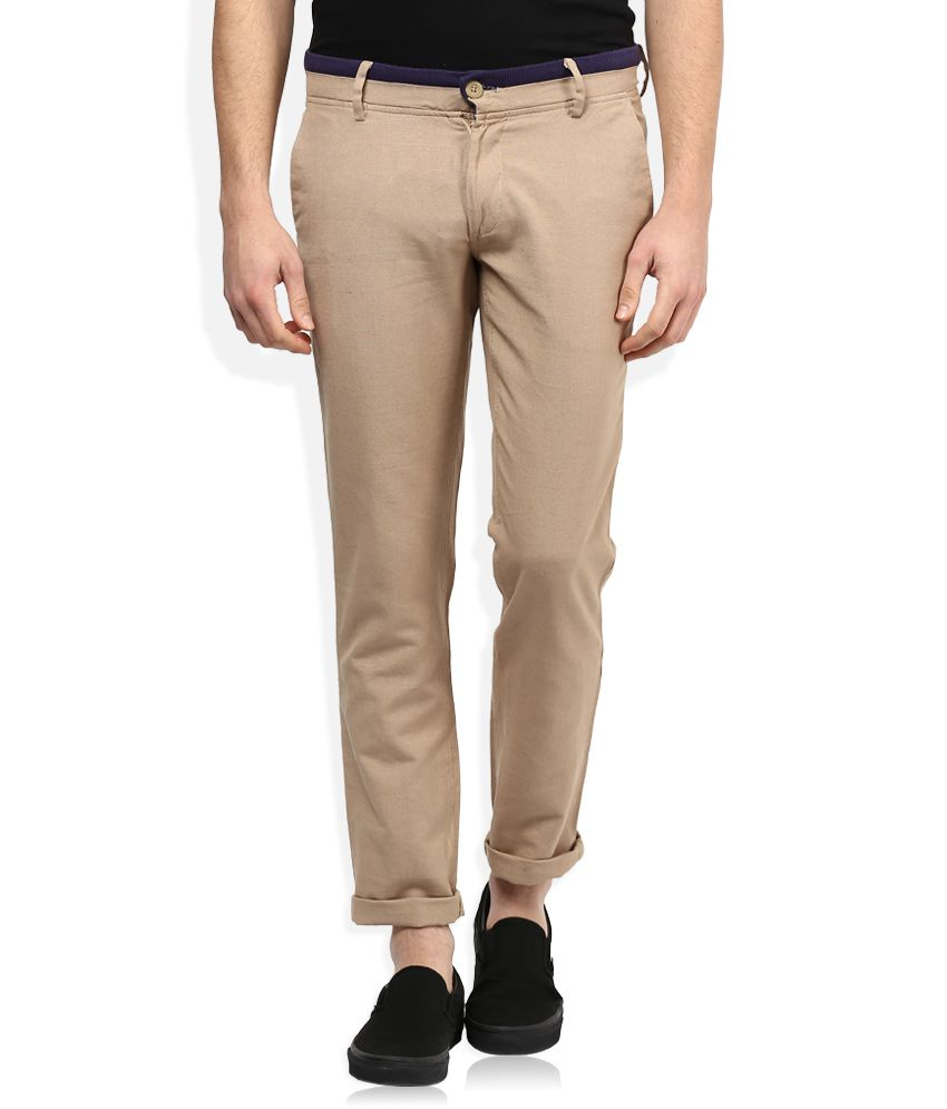 John Players Beige Solid Chinos