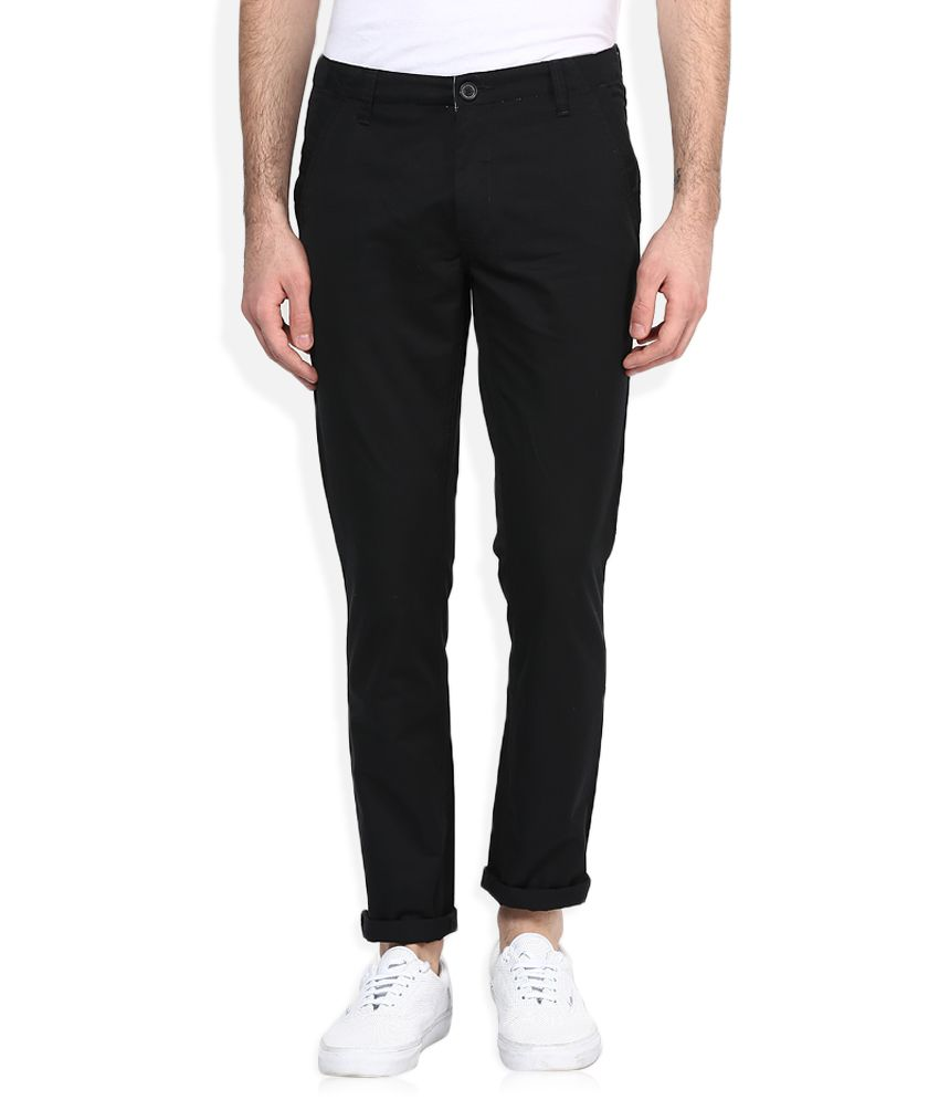 John Players Black Solid Chinos