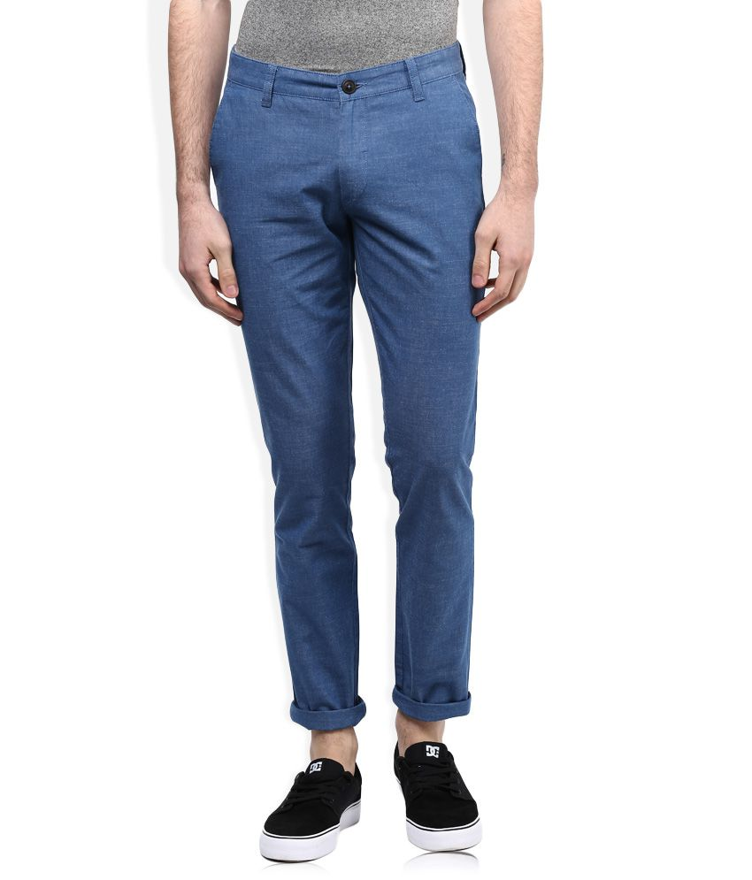 John Players Blue Solid Chinos