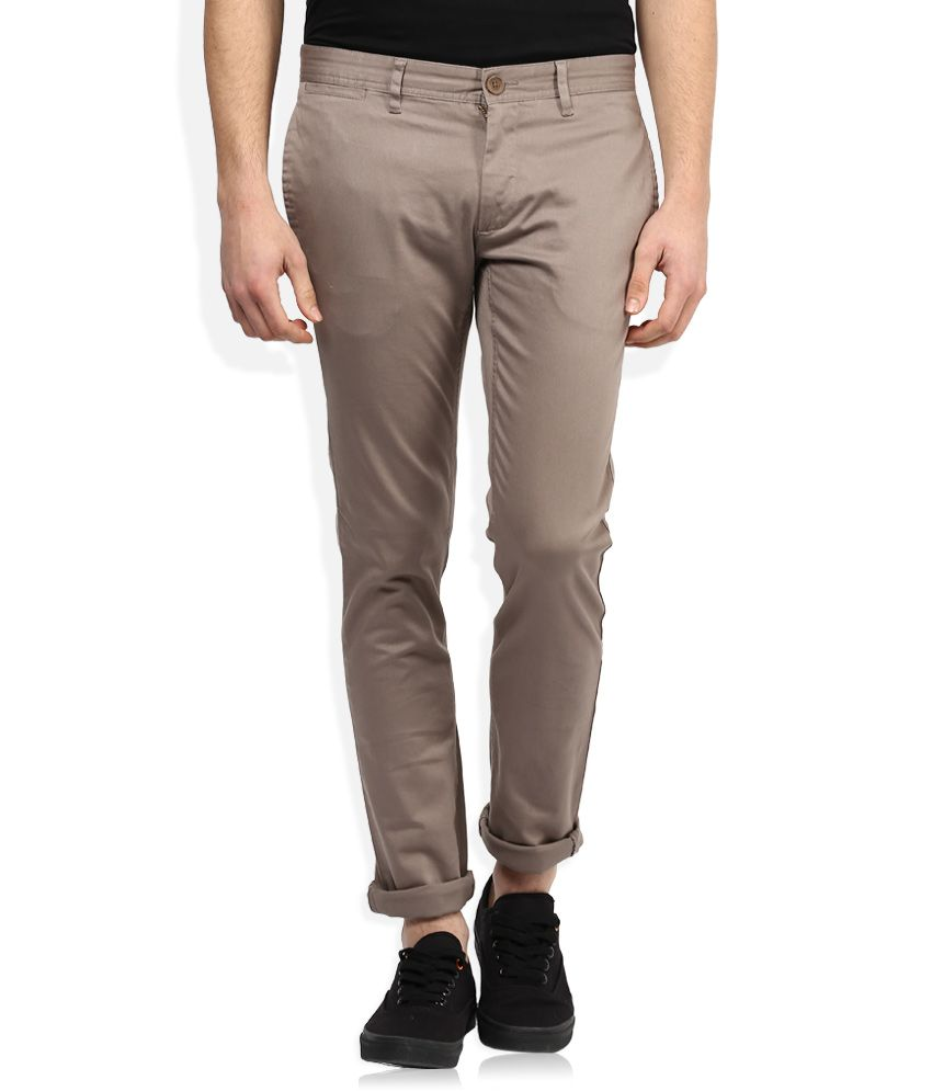 John Players Grey Slim Fit Casual Trousers