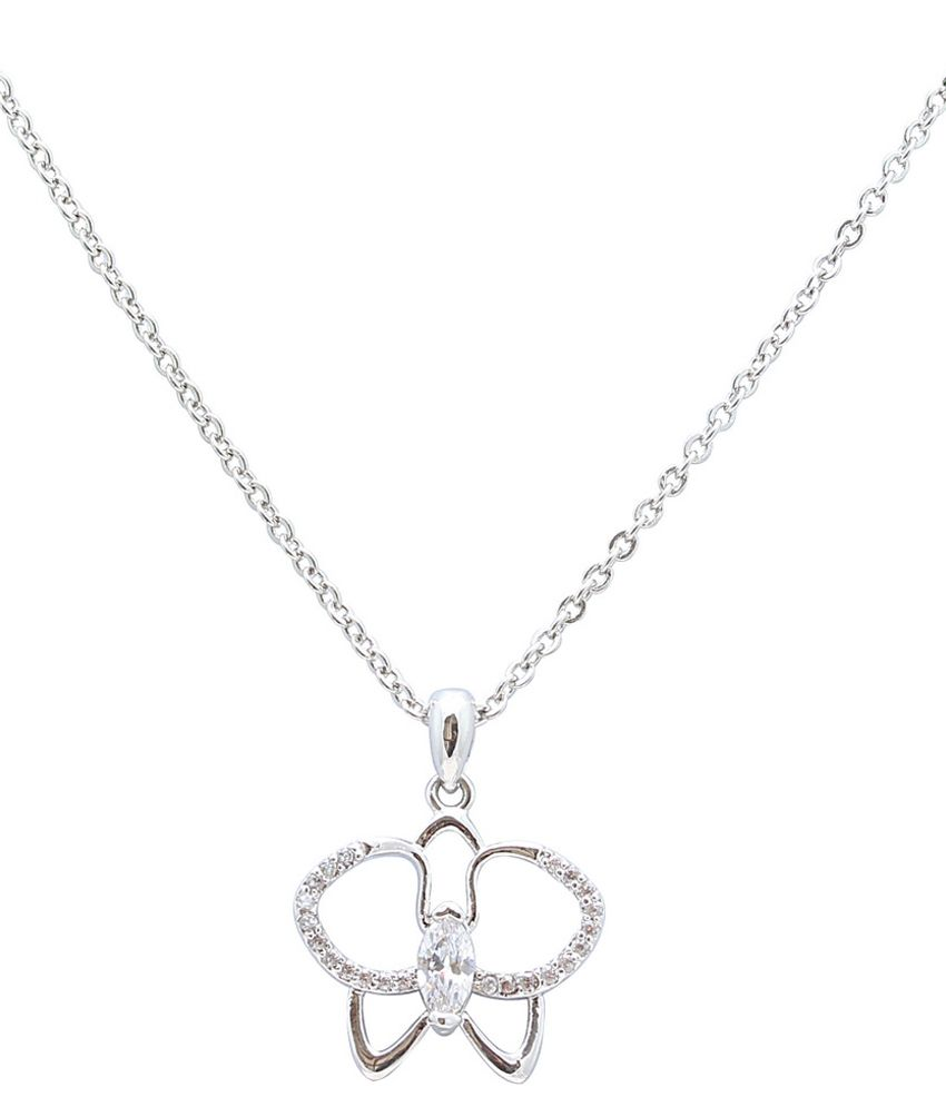 Sparkling Drop Silver CZ Designer Necklace