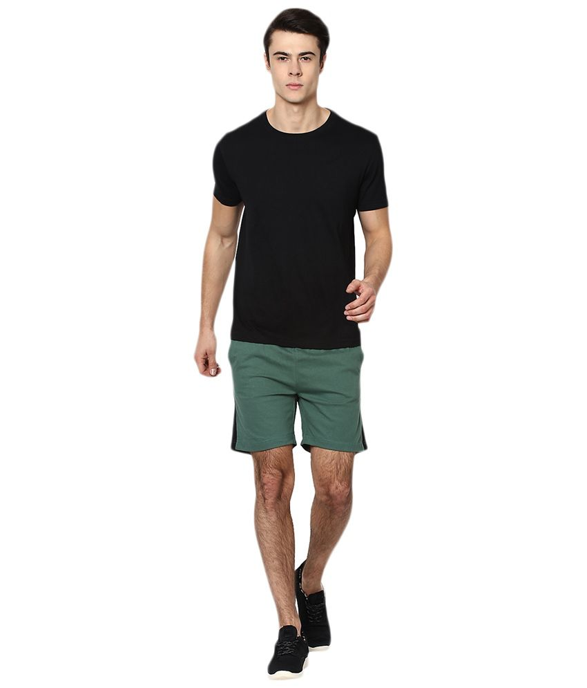 Black t shirt yepme -  Yepme Green Black Cotton Ritter Shorts