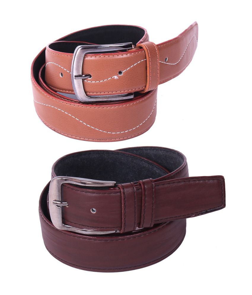 Calibro Combo of Brown and Tan Non Leather Belts