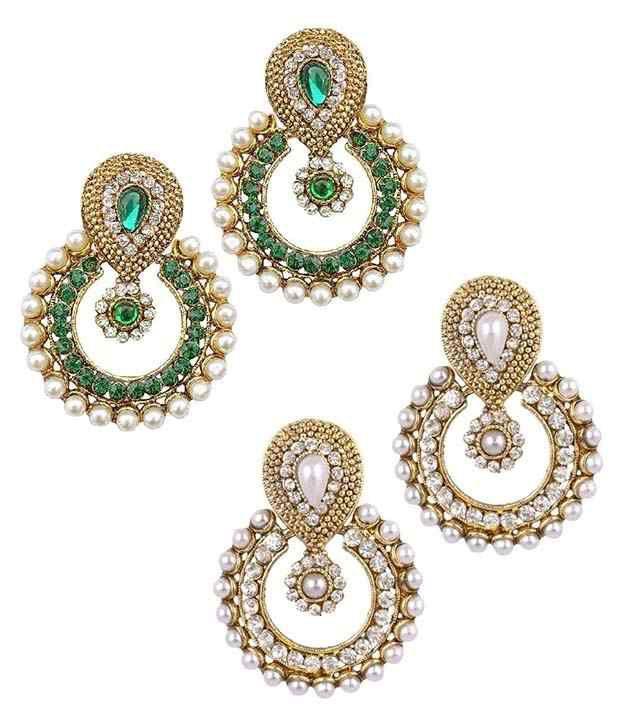 Youbella Multicolor Alloy Chandbali Earrings - Combo Of 2