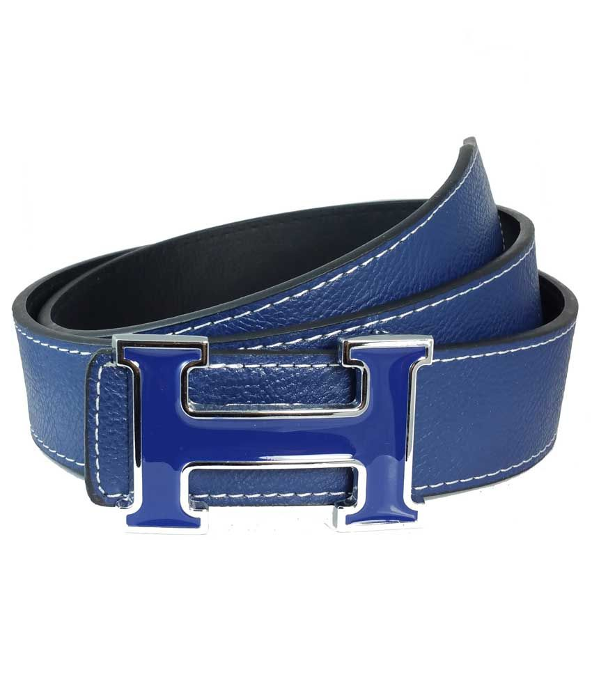 Ammvi Creations Contrast Stitches Gloss Enameled H Buckle Synthetic Leather Navy Blue Belt For Men
