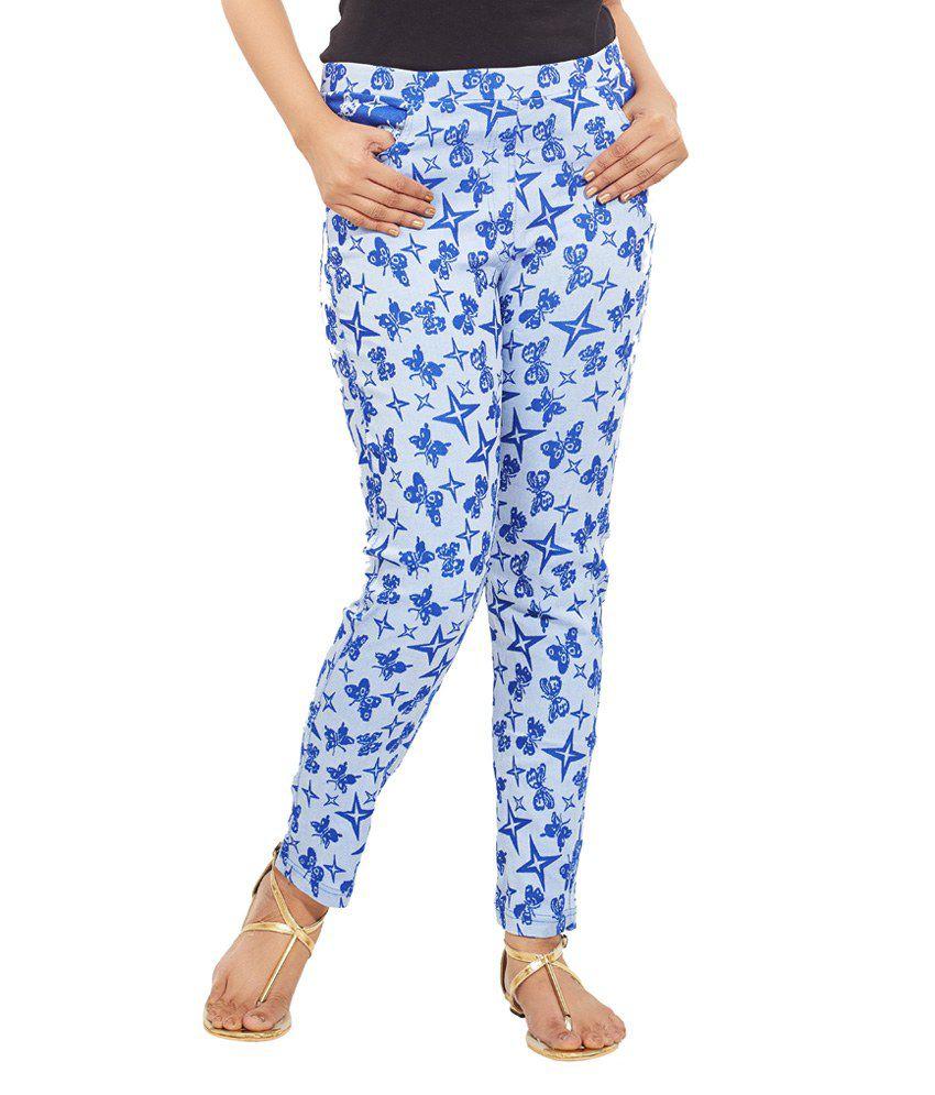 Minu Suits Blue Cotton Lycra Jeggings