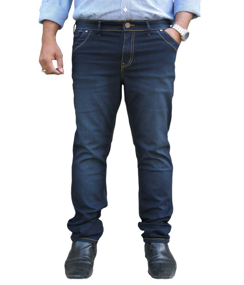 White Pelican Blue with Grey tint Stretchable Regular Fit Jeans For Men