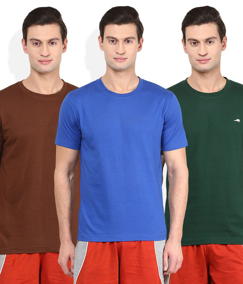 2go Multi Color Solid Pack of 3 T-Shirt