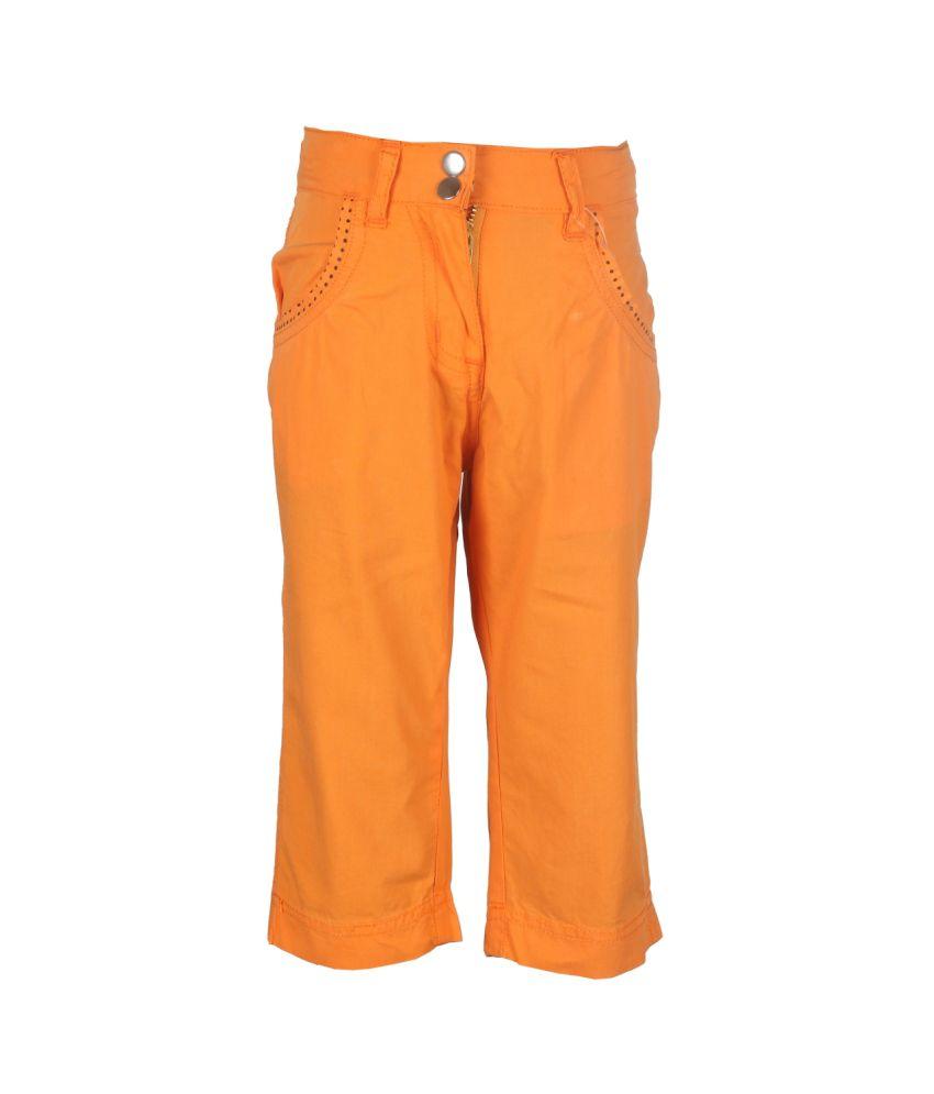 STOP Orange Cotton Capri