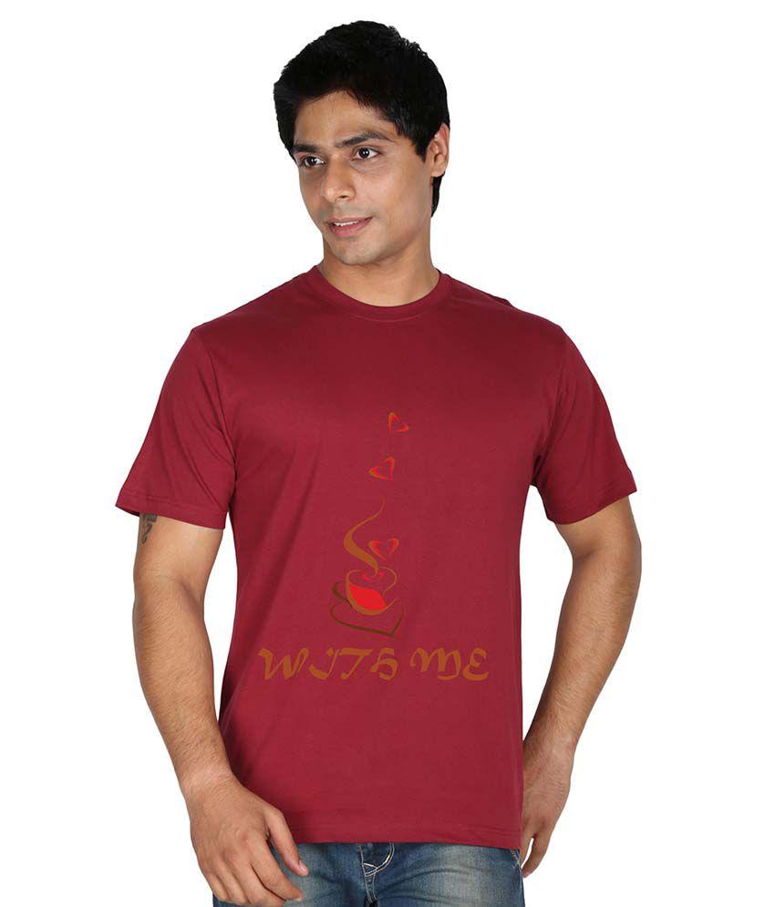 Trendster Maroon Cotton Blend T-Shirt
