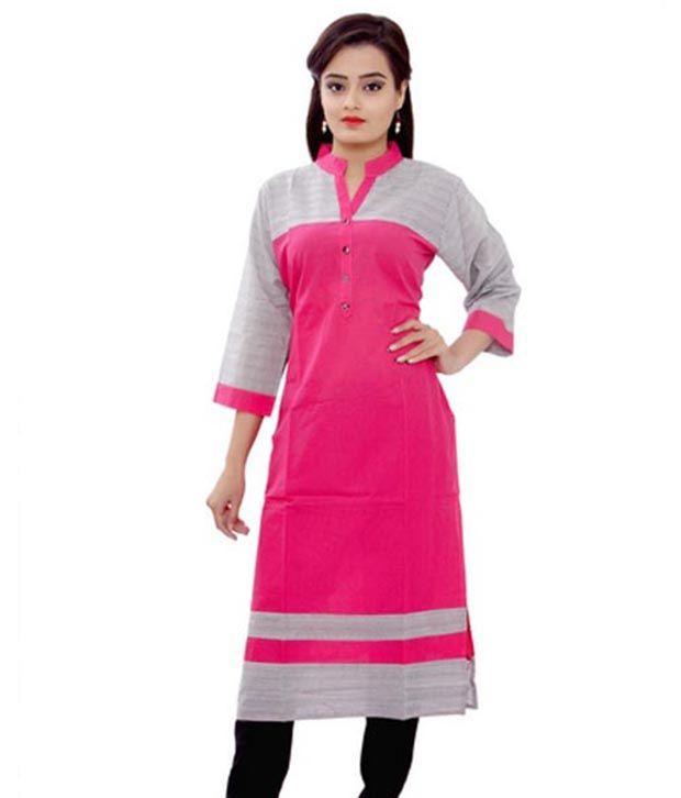 Vedans Pink Cotton Kurti