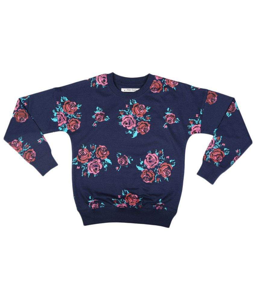 Allen Solly Navy Blue & Pink Cotton Sweatshirt without Hood