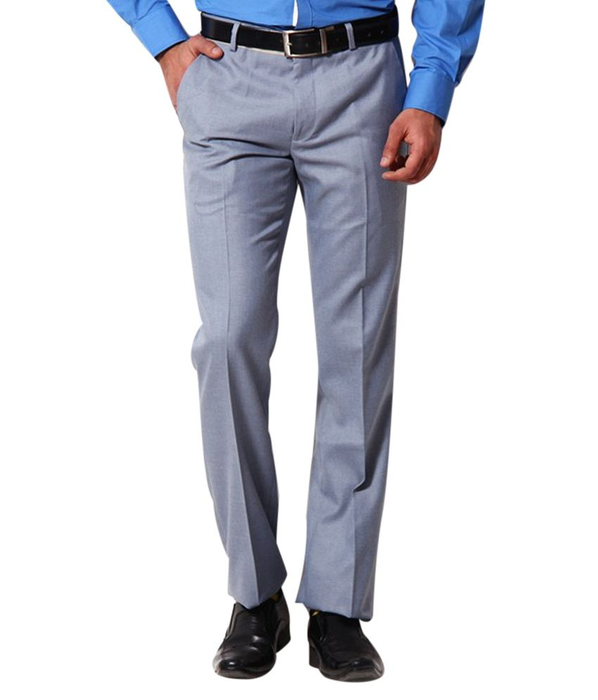 IZ Apparels Grey Classic Formal Trousers