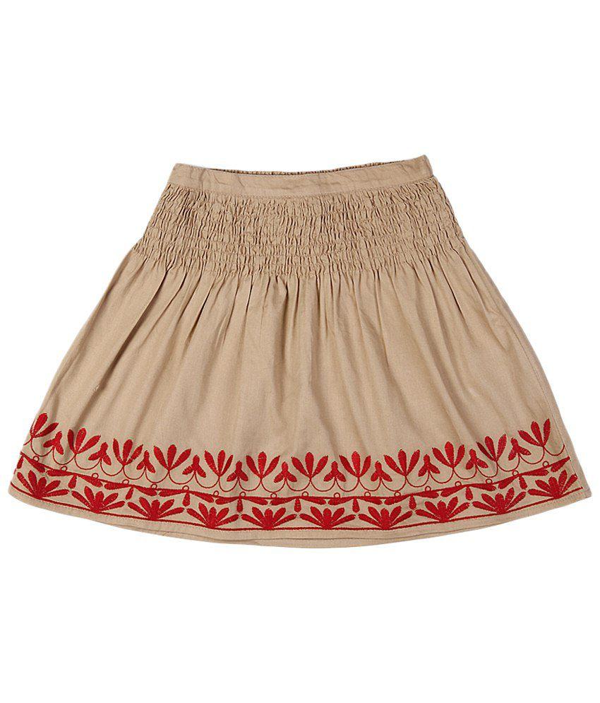 People Khaki & Red Cotton Skirt